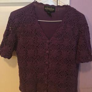 Requirements Petite Purple Crochet Top